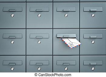 -, metáfora, caixas postais, negócio