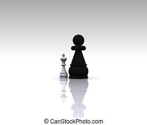 -, metáfora, xadrez, 3d