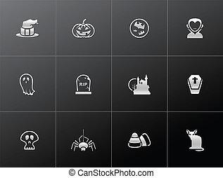 -, metálico, dia das bruxas, ícones