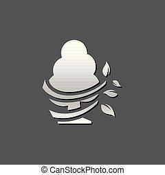-, metallico, albero, icona