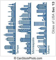 -, miami, città, minneapolis, architecture., tampa, vettore,...