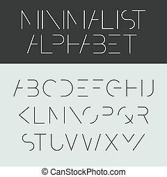 -, minimalista, fonte, desenho, alfabeto