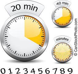 -, minuteur, une, vecteur, chaque, changement, facile,...