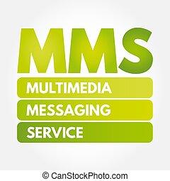 -, mms, mensajería, servicio, siglas, multimedia