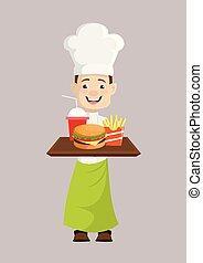 -, mocne pokarmy, przedstawiając, mistrz kucharski