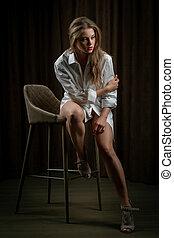 -, modèle, femail, fin, portrait, blanc, poser, beau, ...