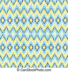 -, modèle, résumé, bleu, jaune, seamless, zigzag