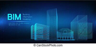 -, modelado, edificio, información, bim