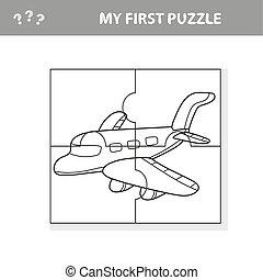 -, mon, plane., worksheet., art, jeu, enfants, puzzle, ...