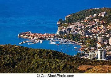 -, montenegro, linea costiera, budva