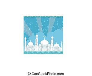 -, mosquée, carte, fond, ramadan, illustration