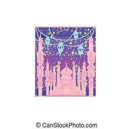 -, mosquée, ramadan, illustration, fond, carte