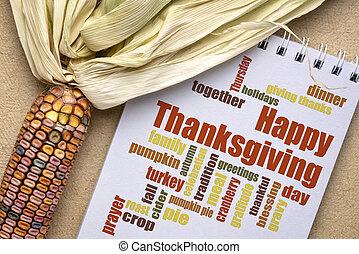 -, mot, heureux, nuage, carte voeux, thanksgiving
