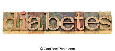 -, mot, letterpress, diabète, type