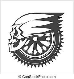 -, motociclista, da corsa, simbolo, cranio