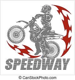 -, motocross, motocicletta, illustrazione, cavaliere