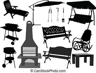 -, muebles, jardín, parrillas, terraza