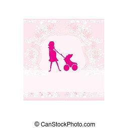 -, mulher, silueta, ilustração, grávida