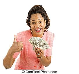 -, mulher, thumbsup, segura, dinheiro