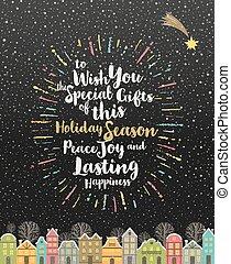 -, multicolored, caligrafia, cartão, saudação, snowbound, natal, tipo, inverno, cidade, desenho, sunburst