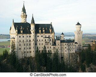 --, mundos, castillo, maravilla, neuschwanstein