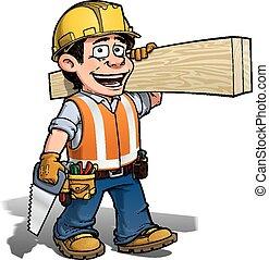 --, munkás, ács, constraction