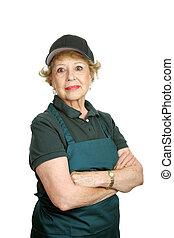 -, munkás, büszkeség, idősebb ember, személyes