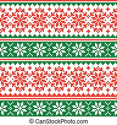 -, muster, vektor, knnitting, design, weihnachten, rotes , ...