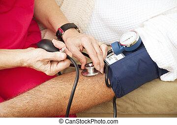 -, nátlak, testování, closeup, krev