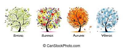 -, négy, művészet, ősz, gyönyörű, fa, eredet, tervezés, winter., fűszerezni, nyár, -e