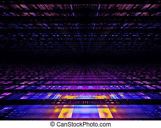 -, néon, 3d, illustration, simple, perspective, résumé, digitalement, incandescent, engendré, fond