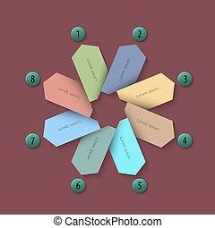 -, número, botões, papel, desenho, infographics, trendy, bandeiras