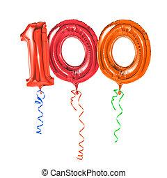 -, número, vermelho, 100, balões, fita
