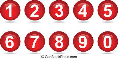 -, números, colección, rojo