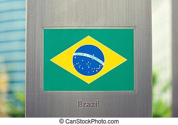 -, national, poteau, drapeaux, brésil, série