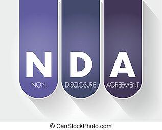 -, nda, acroniem, niet-onthulling, overeenkomst