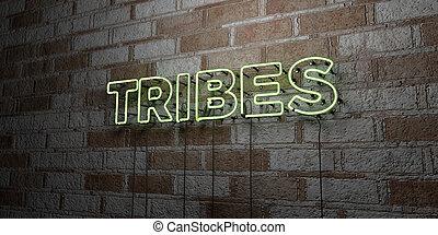 -, neon signera, vägg, stenarbete, glödande, folkstammar
