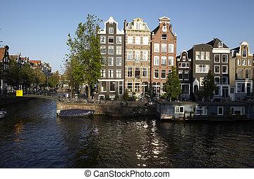 -,  netherlands, 古い, アムステルダム, 家