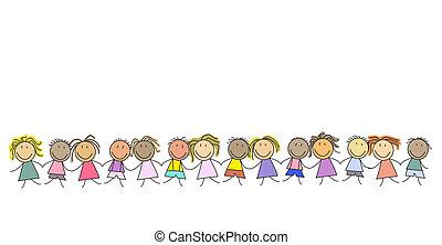 -, niños, grupo, niños, fila