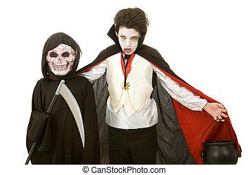 -, niños, halloween, vampiro, segadora
