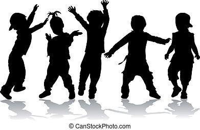 -, niños, negro, bailando, silhouettes.