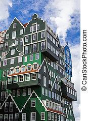 -, niderlandy, nowoczesna architektura, zaandam
