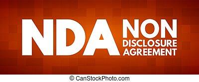 -, niet-onthulling, acroniem, nda, overeenkomst