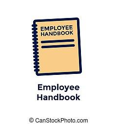 -, nieuwe werknemer, verhuring, pictogram, handboek, proces