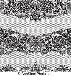 -, noir, modèle, fond, fleurs blanches, dentelle, seamless, conception, tissu