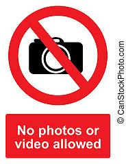 -, non, ou, photos, signe, isolé, vidéo, permis, fond blanc, prohibition, rouges