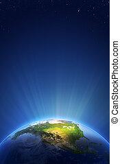 -, norteamérica, serie, radiante, tierra, luz