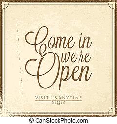 -, nosotros, letras, abierto, calligraphic
