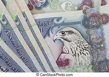 -, nota, moneda, primer plano, uae, 500, dirhams