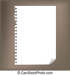 -, notatnik, do góry, ilustracja, papier, czysty, zamknięcie